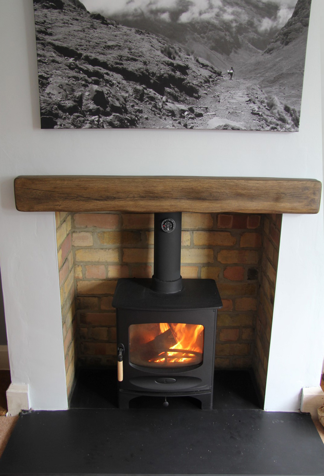 Embers bristol stove installation with ceramic beam